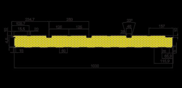Стінові вогнестійкі сендвіч-панелі Тип PR 3 - 5